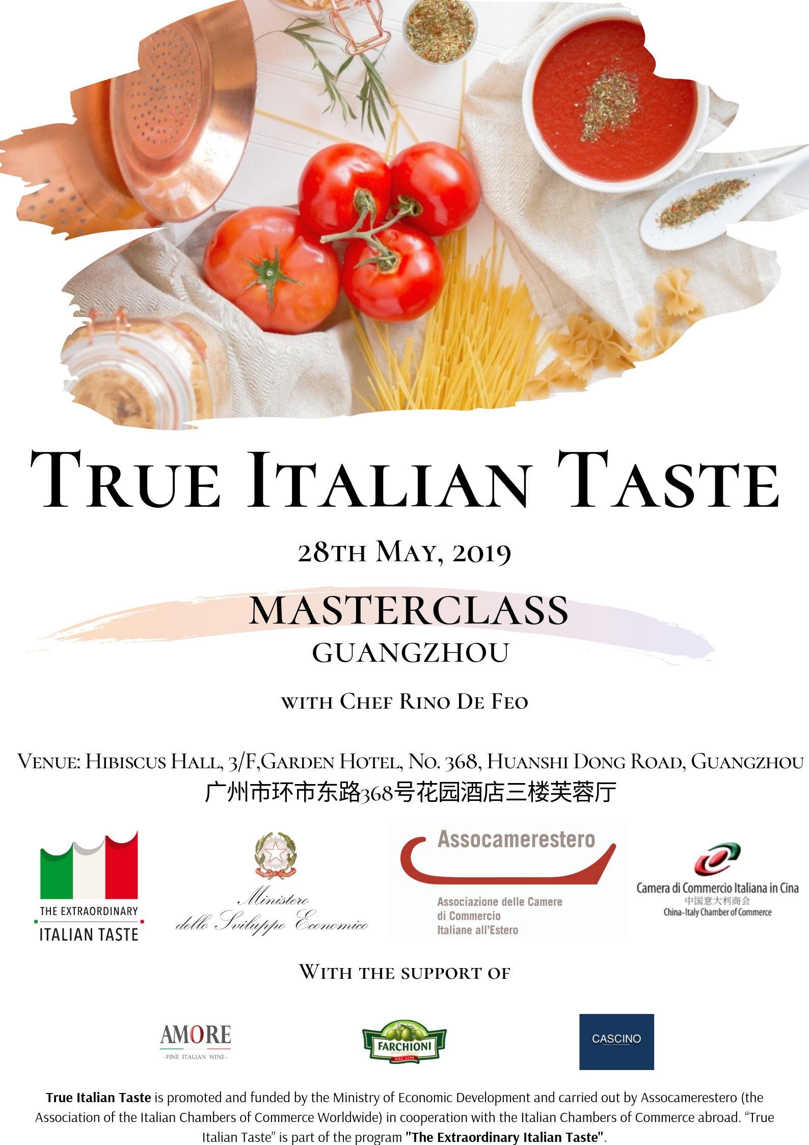 "True Italian Taste"" Masterclass Guangzhou – 28th May 2019"
